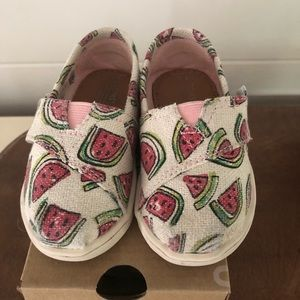 Toms Shoes - Toddler Girls Glitter Watermelon Shoes